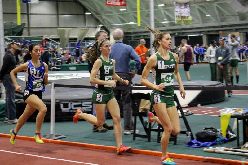 dartmouth runners run the one mile run at the dartmouth relays this sunday