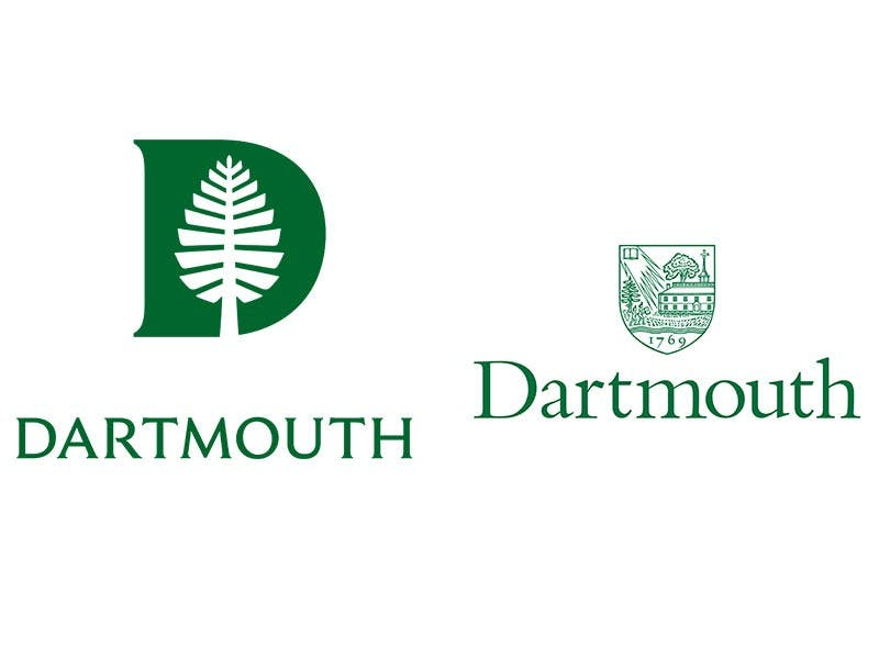 Dartmouth's new logo and typeface (left) is replacing its previous branding materials (right).