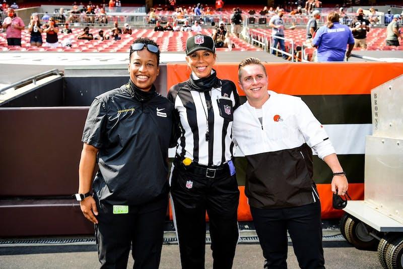 Callie Brownson, Jennifer King and Sarah Thomas at the Washington Football Team vs. Browns game on Sept. 27.