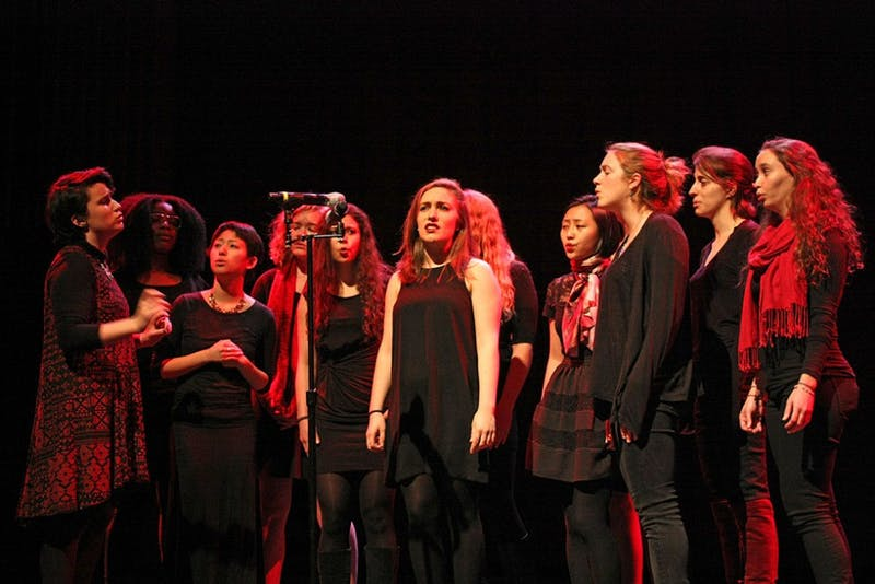 The Rockapellas, an all-women a cappella group, perform at V-February in 2016.