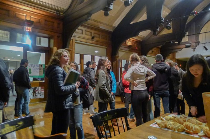 Prospective members of the Class of 2019 mingle in Collis Common Ground