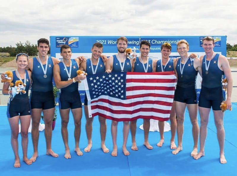 Racing on the U.S. men's eight, Jacob Hudgins '23 and Bill Bender '24 won silver at the U23 World Rowing Championships.