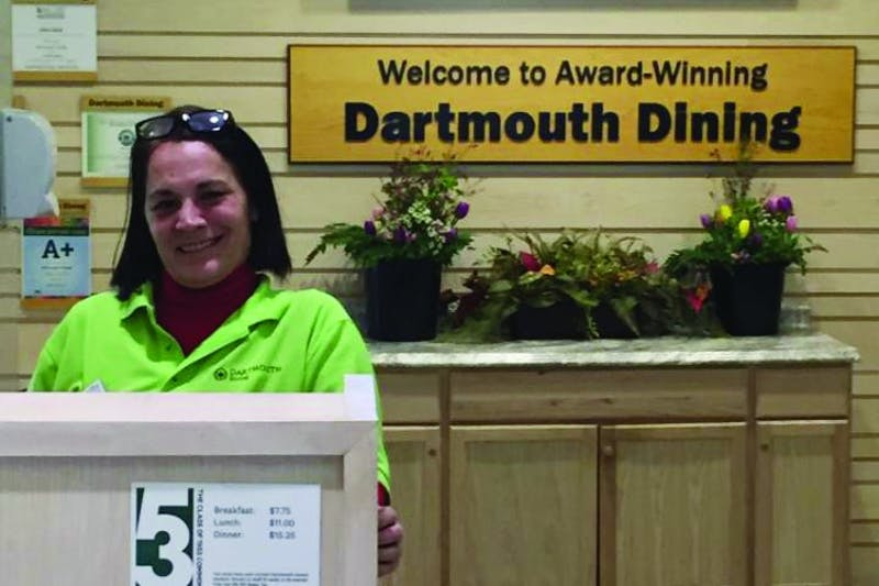 Dartmouth Dining Services greeter Dawn Fandino suffered a hemorrhagic stroke six years ago that left her with right-side body paralysis.