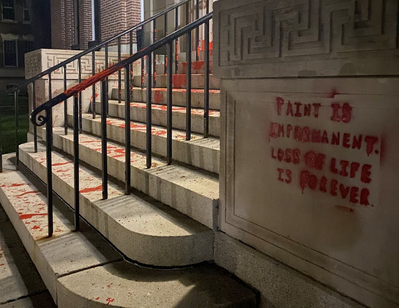 Graffiti was left on Parkhurst Hall — as well as at Webster Ave. in front of College President Phil Hanlon's house — that criticized the College's mental health policies.