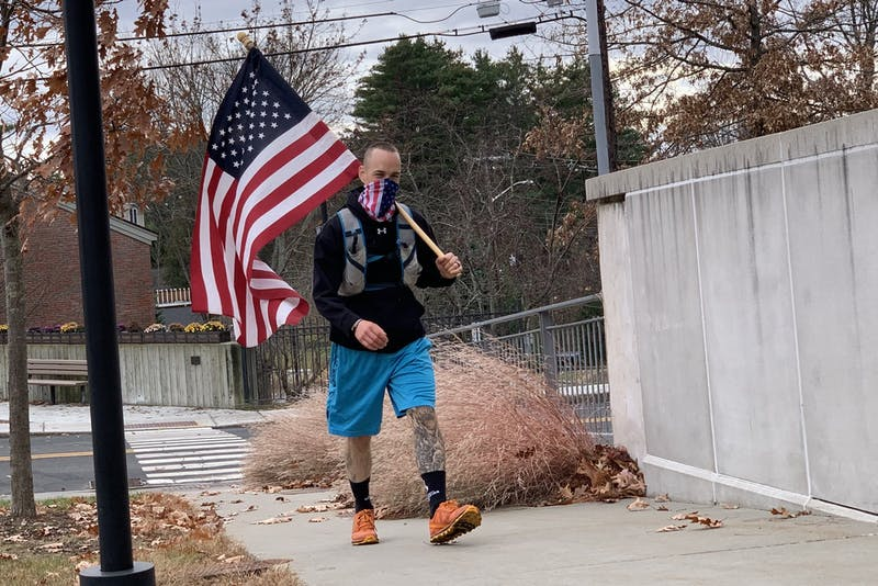 College network engineer Jason Mosel ran 100 miles in 26 hours on Veterans Day.