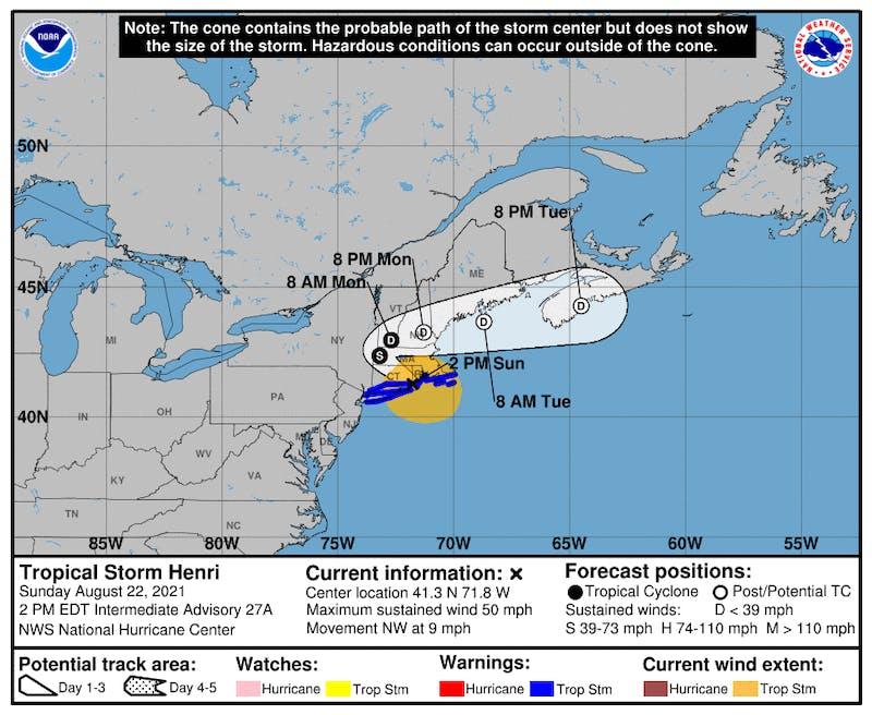 The NHC's 2 p.m. update showed Henri impacting New Hampshire through Monday.