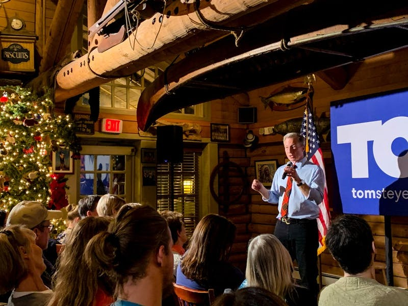 Steyer spoke to a crowd of around 50 people at Jesse's Steakhouse in Hanover.