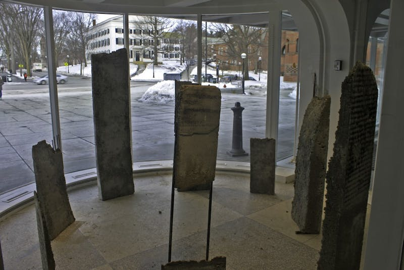 "Each slab in Sera Boeno's exhibit ""Kelimeler Kiyafetsiz (:Words Naked/Are Not Enough)"" weighed between 50 to 120 pounds."