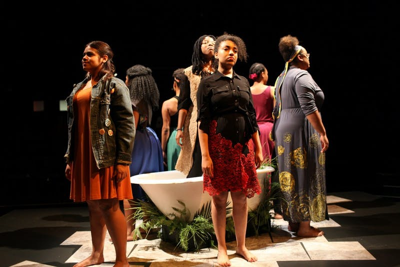 Dress rehearsal of For Colored Girls Who Have Considered Suicide / When the Rainbow Is Enuf in Hanover, New Hampshire on Thursday, May 12, 2016. Copyright 2016 Rob Strong