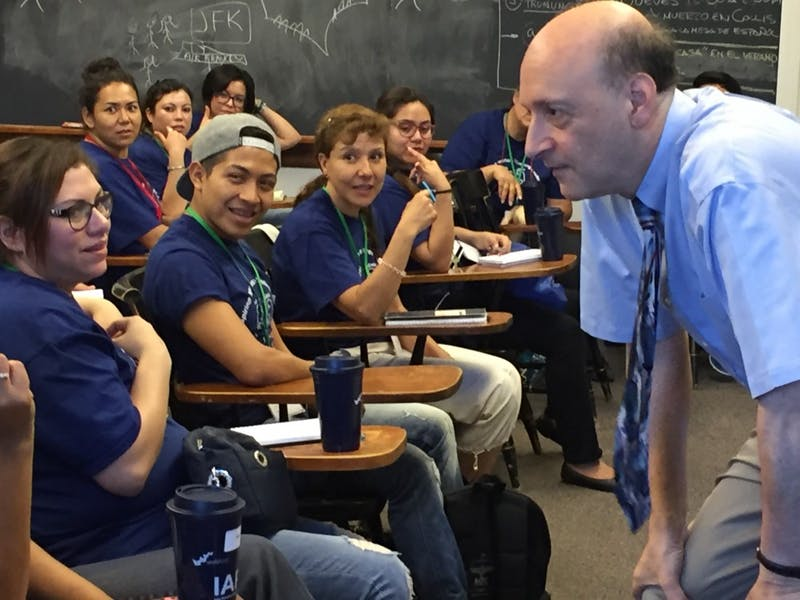 Joe Goldfield '76 gives a demonstration immersion class in French to showcase the Rassias method.