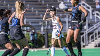 Freshman Darcy Bourne (right) notched a goal for the second straight game Saturday.