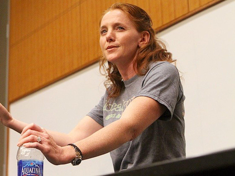 Leah Bergman, co-founder of Local Yogurt, speaks to students.