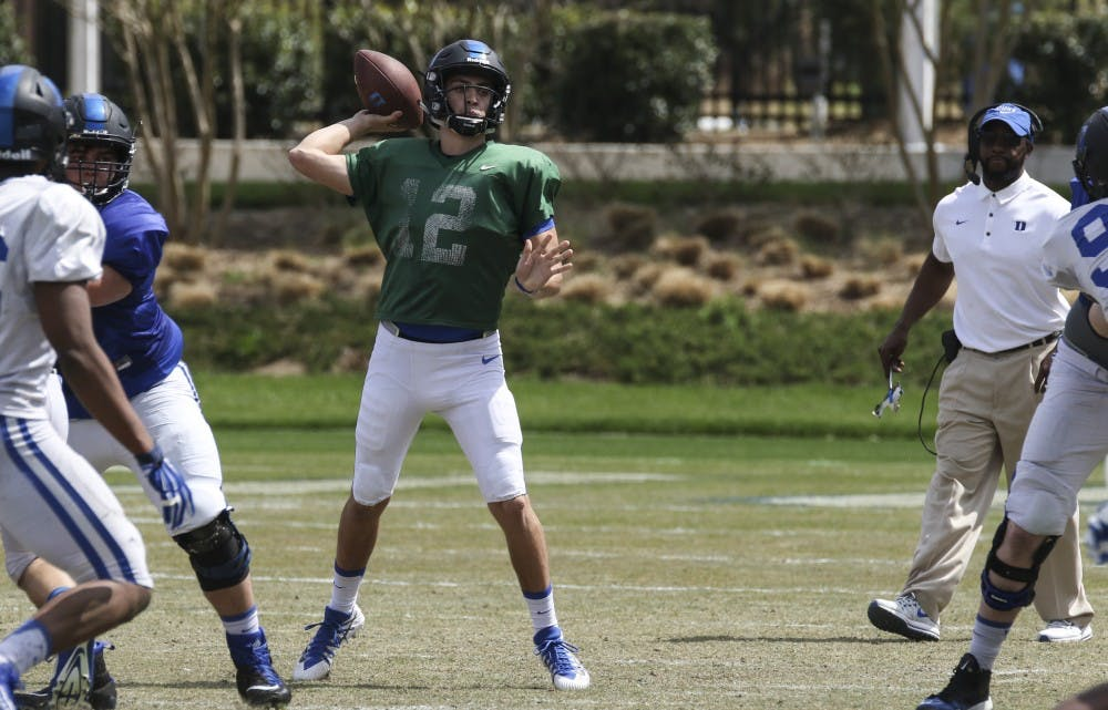 <p>Dual-threat Gunnar Holmberg will look to learn from another mobile quarterback in starter Daniel Jones.</p>