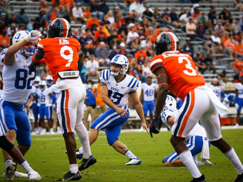 Duke kicker Matt Alswanger missed his lone field goal attempt of the half.