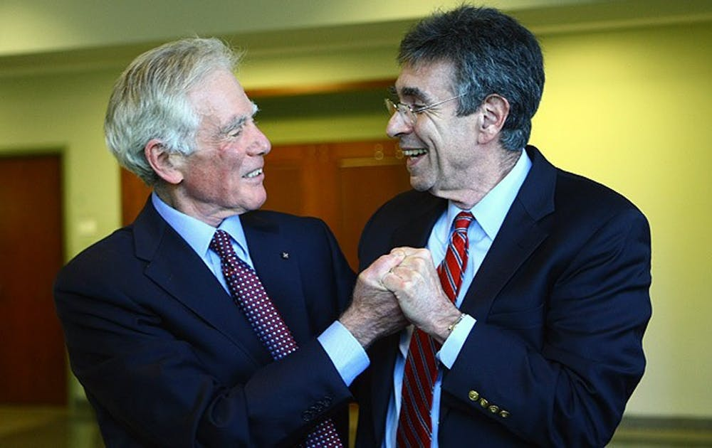 Dr. Robert Lefkowitz, James B. Duke professor of medicine,  celebrates his Nobel Prize in chemistry with Dr. Ralph Snyderman, chancellor emeritus for health affairs. The prize was announced Wednesday morning.