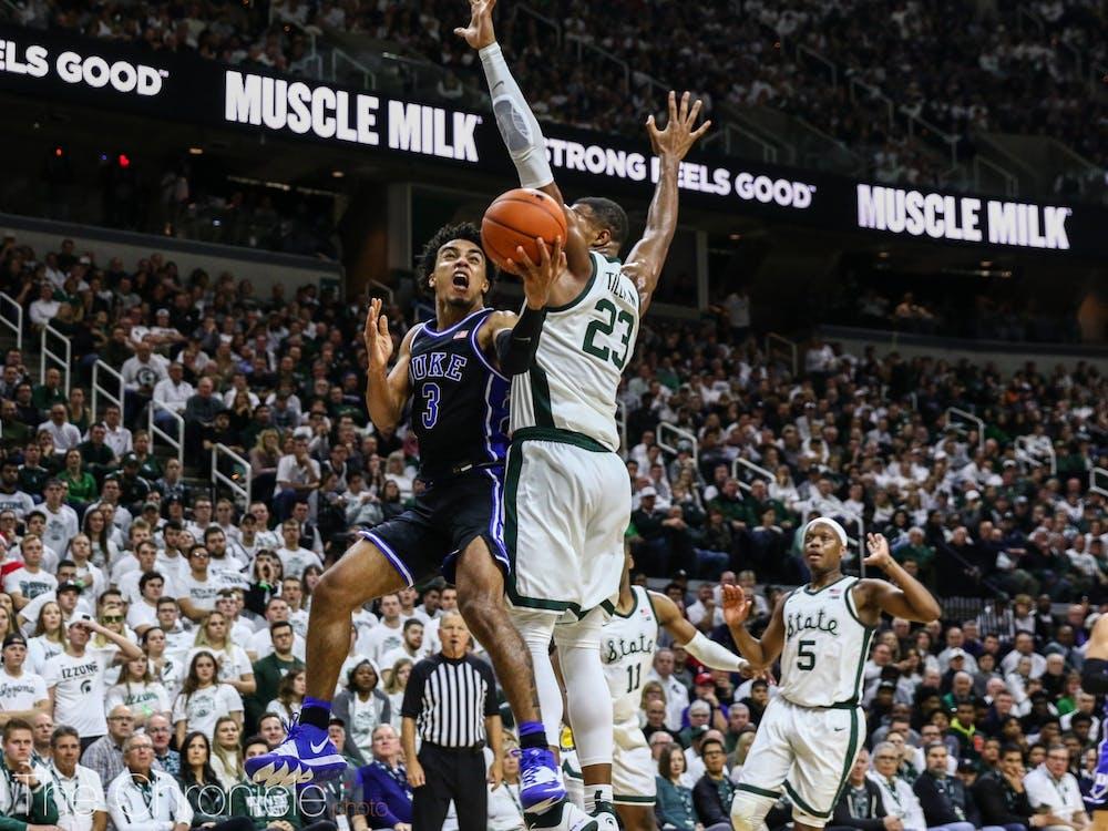 The men's basketball team beat Michigan State on Dec. 3, 2019.