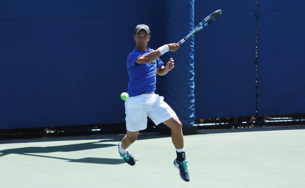 T.J. Pura closed out the match for the Blue Devils, sending Duke to the Round of 16 in Waco, Texas, May 14.