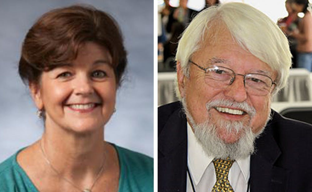 <p>Nancy MacLean (left) and&nbsp;William Chafe (right) both hold endowed professorships in history.&nbsp;</p>