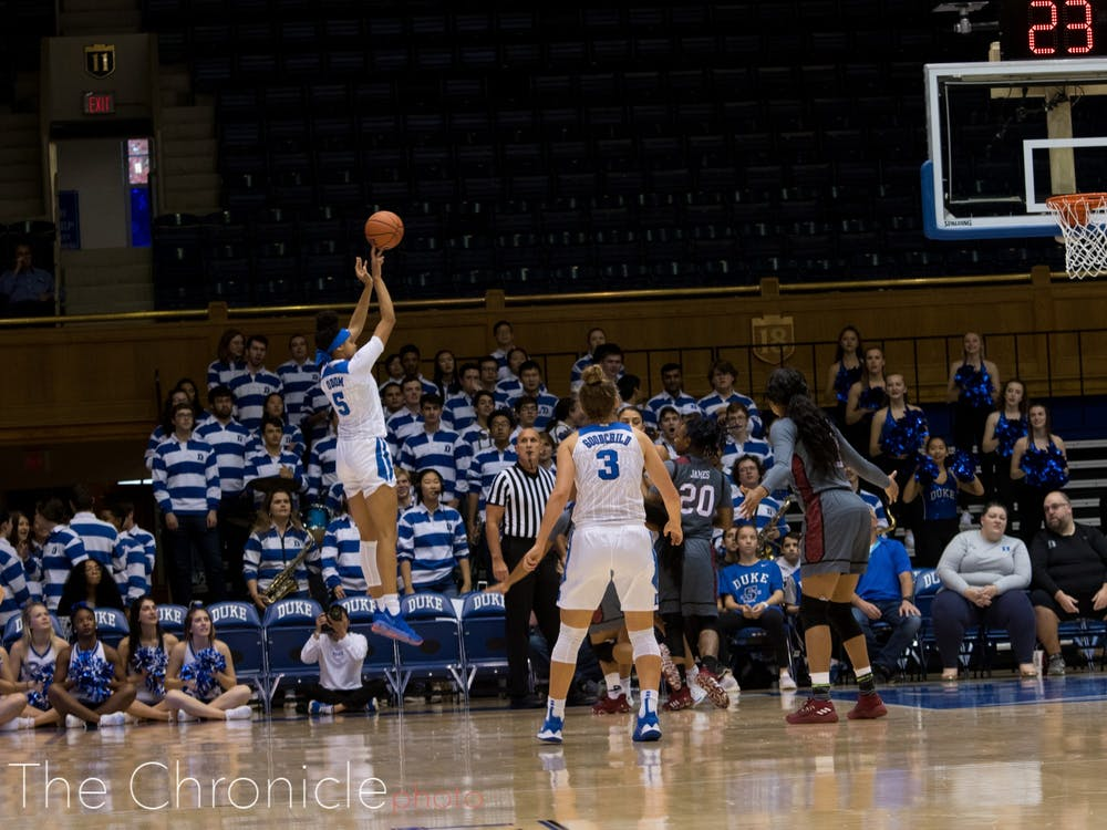 <p>Leaonna Odom effectively ran the fast break for the Blue Devils.</p>