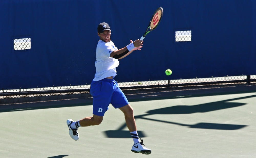 <p>The Blue Devils took the Cavaliers to three sets on four of the six singles courts, but fell on all four as No. 3 Virginia beat Duke 6-1 Sunday.</p>