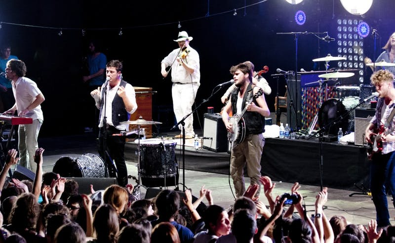 "Mumford & Sons, pictured performing in 2012, released their fourth studio album ""Delta"" Nov. 16."
