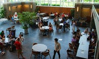 Graduate students study and socialize in the School of Law's Star Commons. A program created in 2008, Bridge to Practice, helps Duke Law graduates secure employment in their chosen career.