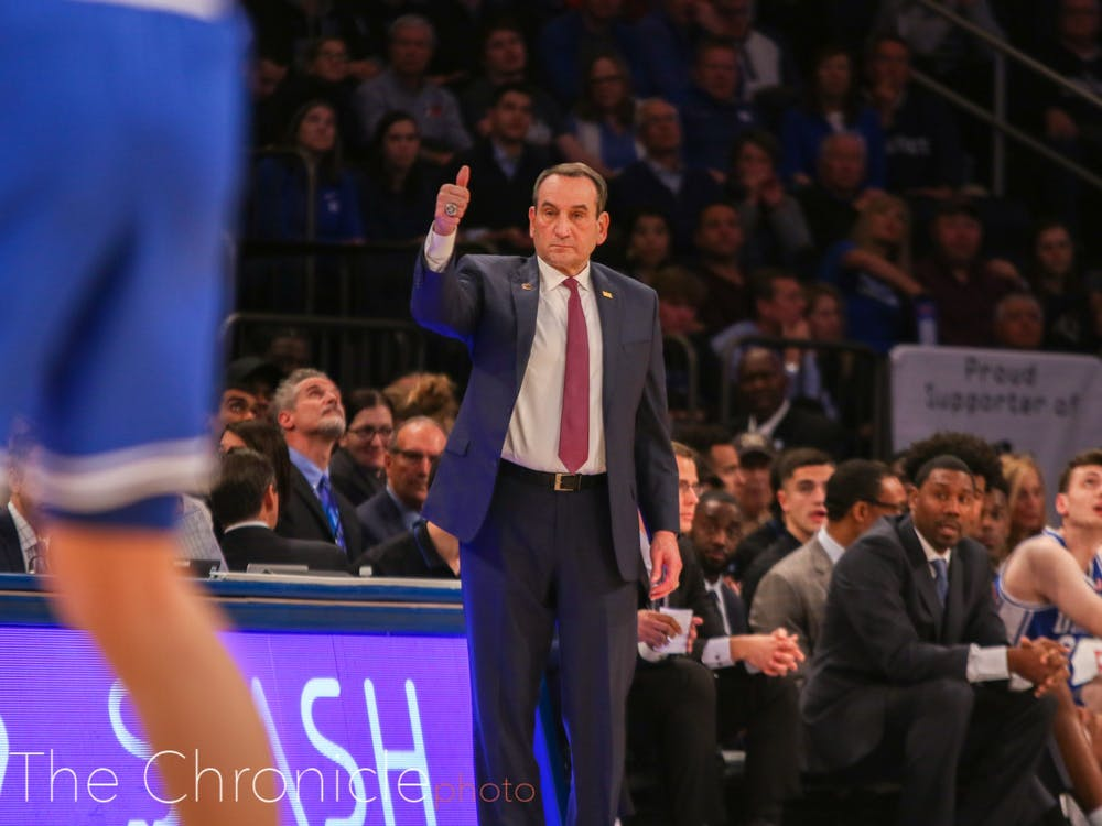 <p>Mike Krzyzewski had a lot to be happy about after the Blue Devils' performance during the 2K Empire Classic.</p>