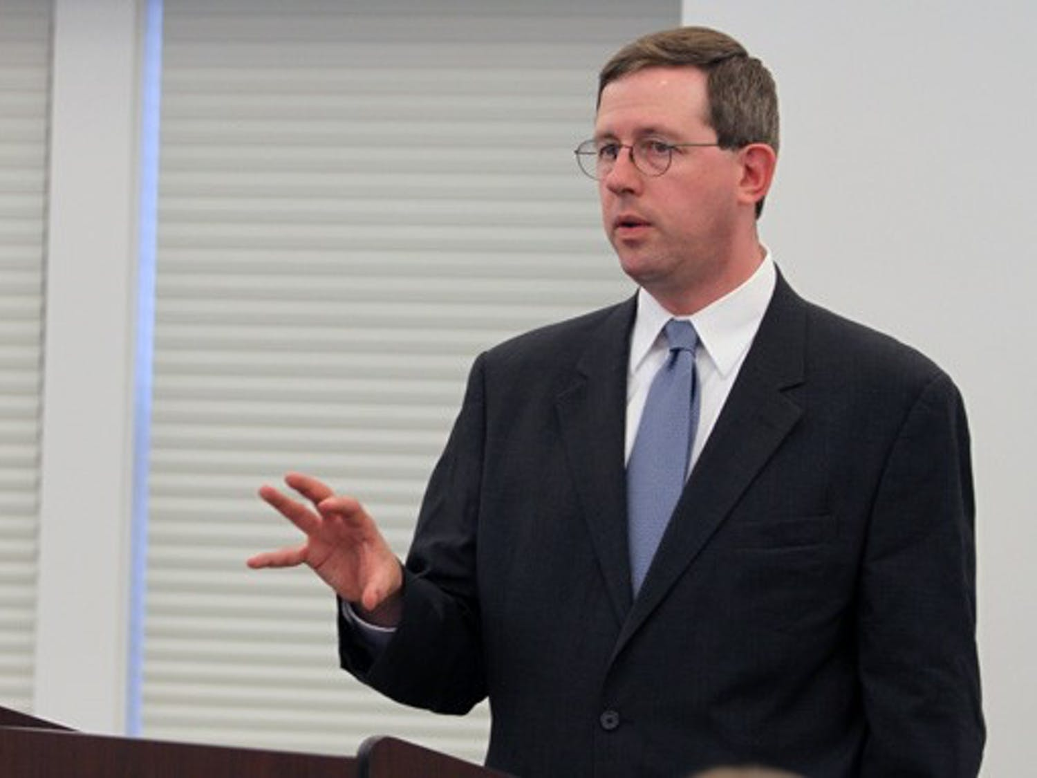 Christopher Sands speaks on the Department of Homeland Security's foreign relations Wednesday.