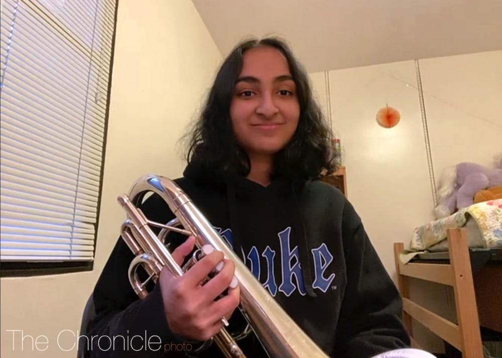 <p>First-year Zahra Hassan is a member of the marching band, which is holding in-person, socially distanced rehearsals this year.</p>