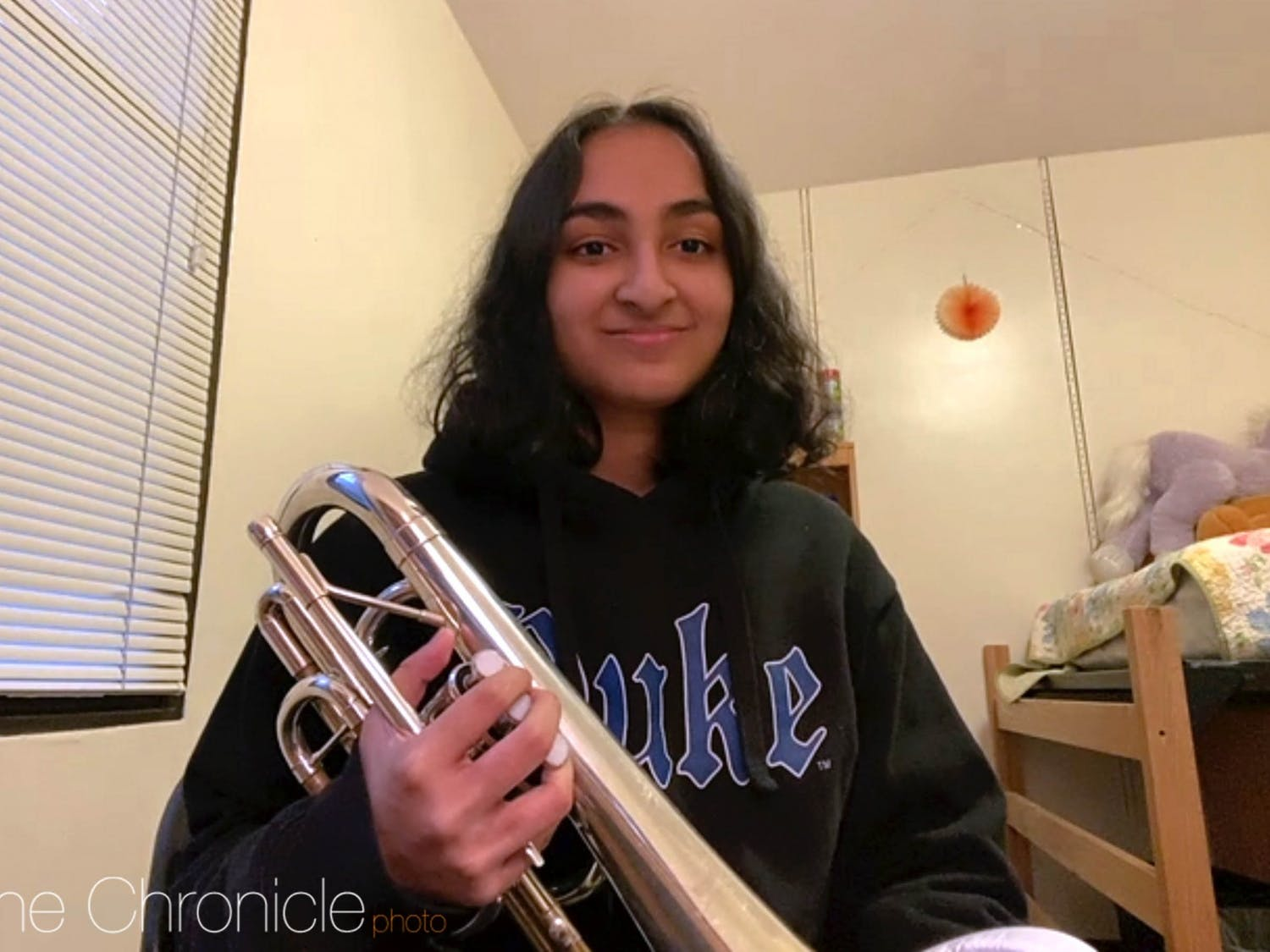 First-year Zahra Hassan is a member of the marching band, which is holding in-person, socially distanced rehearsals this year.