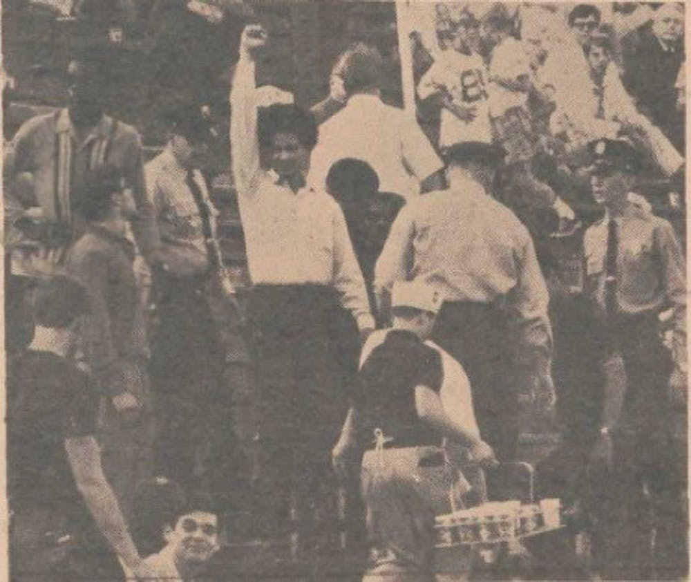 "Vaughn C. Glapion pictured in the November 5, 1968 edition of The Chronicle protesting the playing of ""Dixie"" at a Duke football game. Chronicle File Photo."