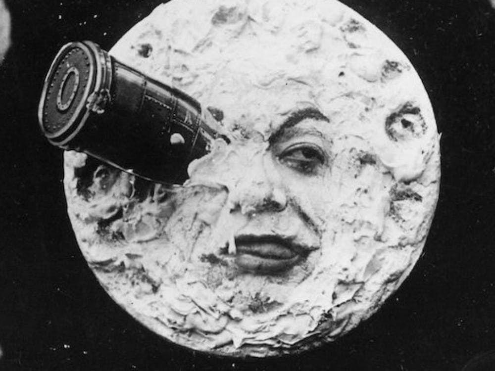 "George Méliès' silent black-and-white film ""A Trip to the Moon"" birthed ""space movies"" in 1902."