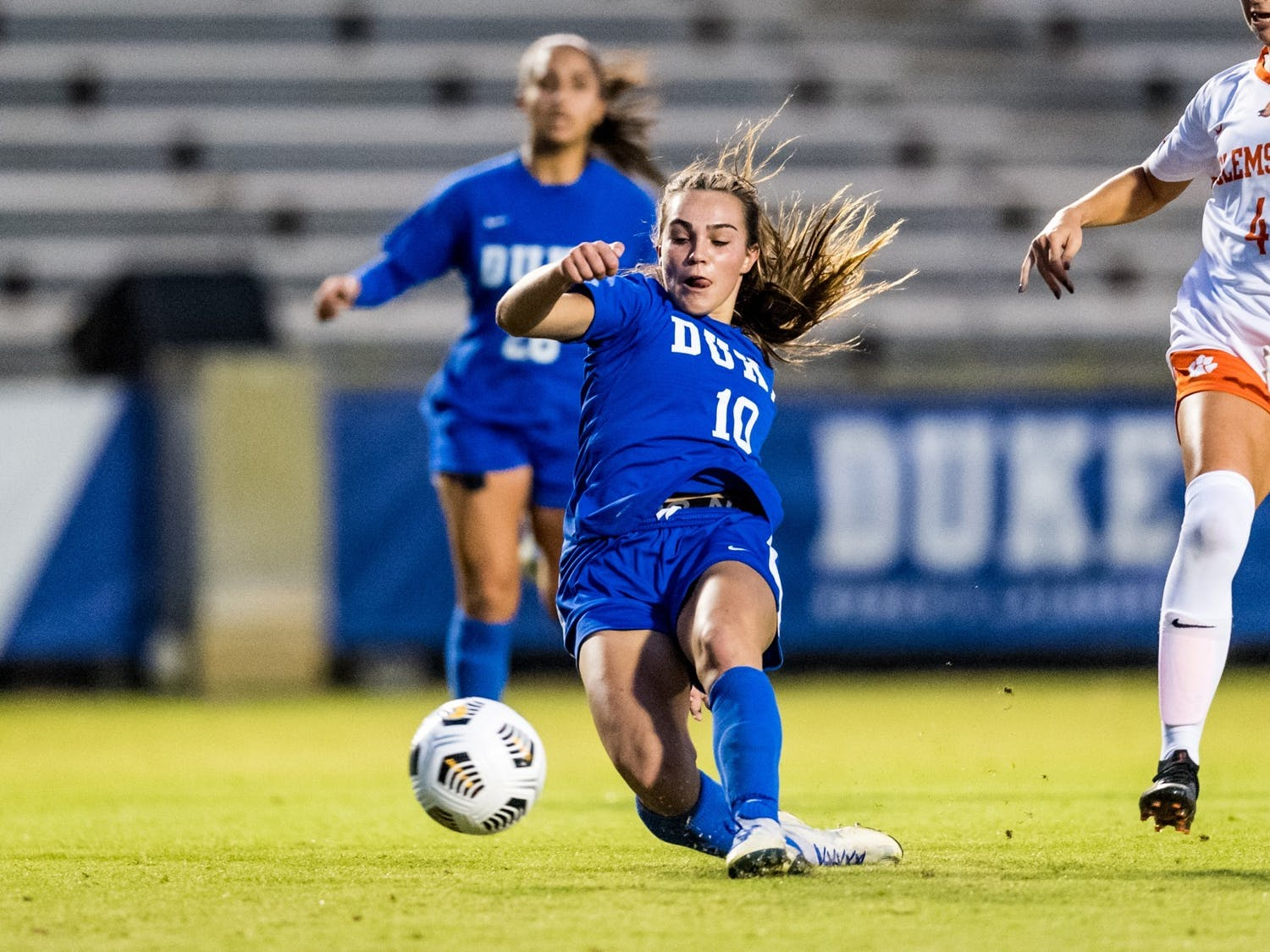 Freshman Olivia Migli, who notched the game's lone goal in the Blue Devils' last matchup against Clemson, will be an essential part of Duke's offense.