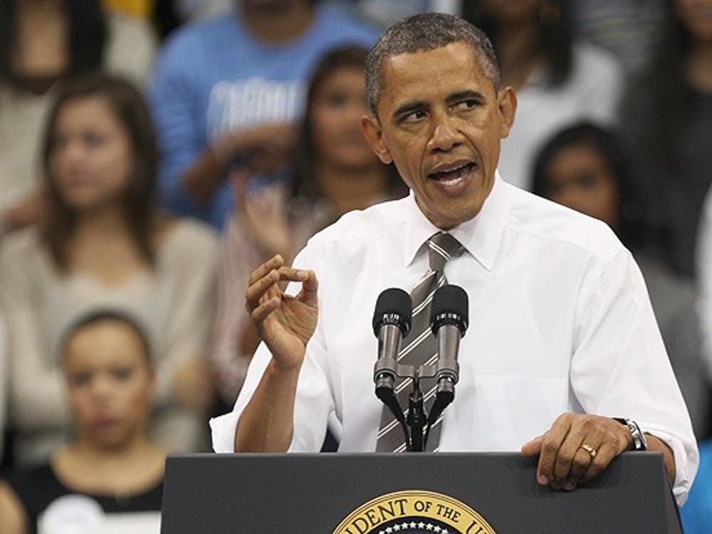 President Barack Obama addresses a large crowd at the University of North Carolina at Chapel Hill Tuesday.