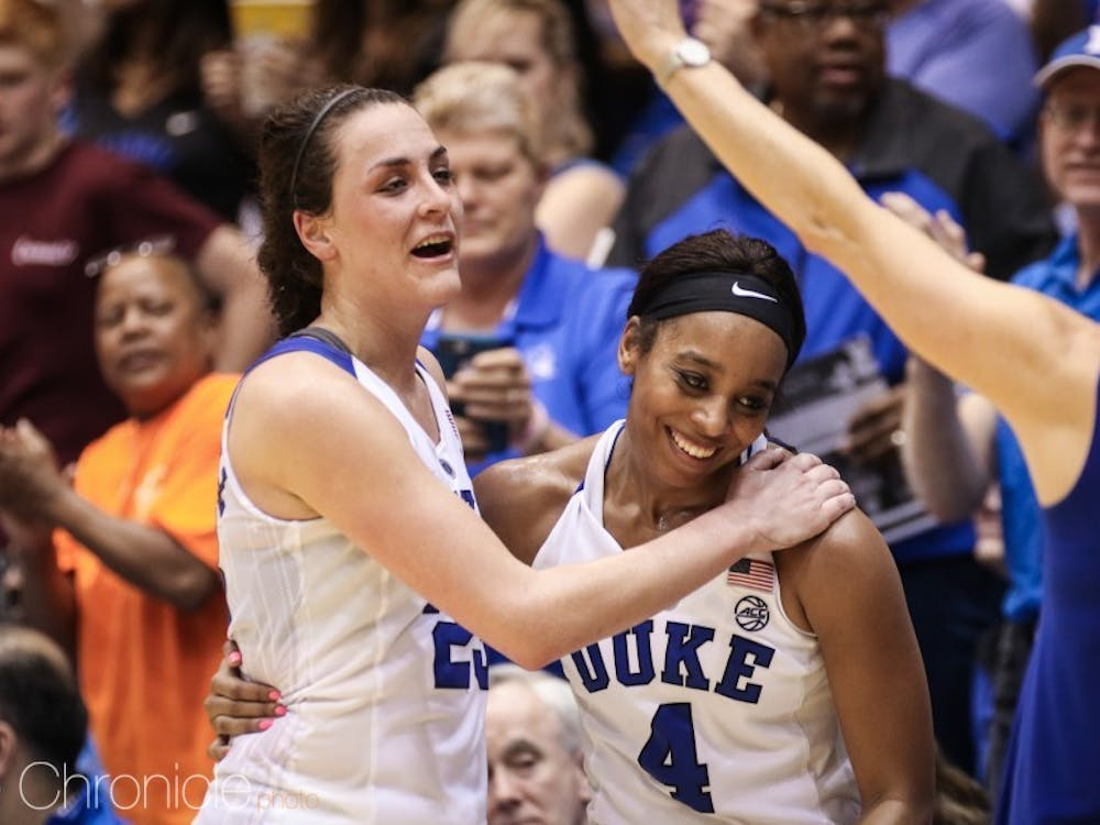 Lexie Brown and Rebecca Greenwell combined to score 53 of Duke's 70 points in their final regular-season game at Cameron Indoor Stadium.
