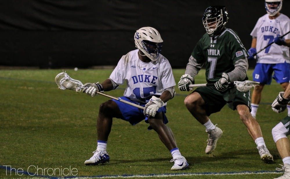<p>Nakeie Montgomery's hat trick was not enough for Duke Saturday.</p>