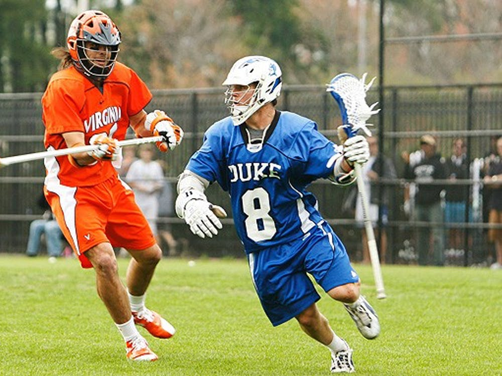 Senior Max Quinzani and the rest of Duke's forwards could find the path to goal well-defended by Notre Dame goalie Scott Rodgers.