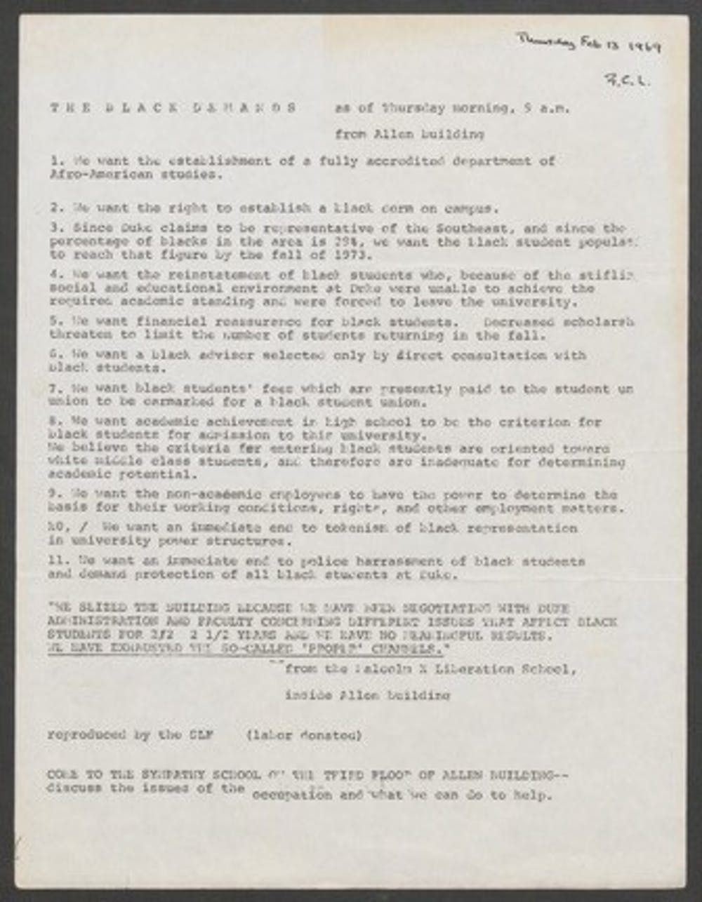 The demands of the Allen Building protesters. Courtesy of Duke Online Exhibit.