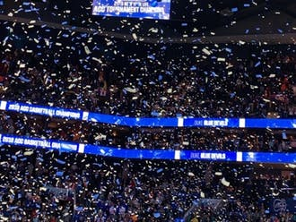 Confetti showered the court in Charlotte after Duke won the ACC title.