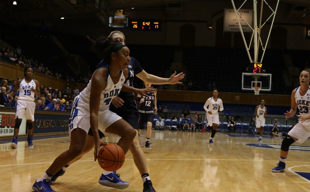 <p>Maryland transfer Lexie Brown scored 13 early points in her first game for the Blue Devils.</p>