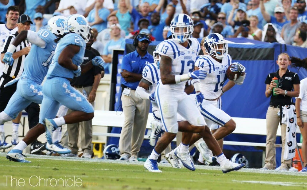 Bryon Fields Jr.'s interception return for a touchdown in the closing minutes sealed Duke's 10-point victory.
