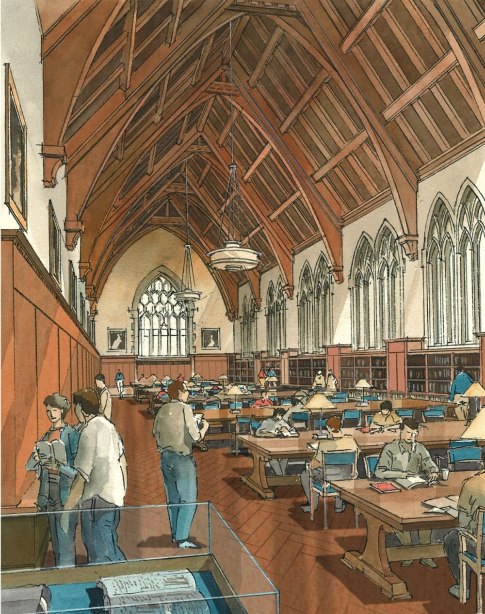 This artist's rendering shows plans for a renovated reading room in the David M. Rubenstein Rare Book and Manuscript Library. Construction is expected to begin December 2012 and finish in 2015.
