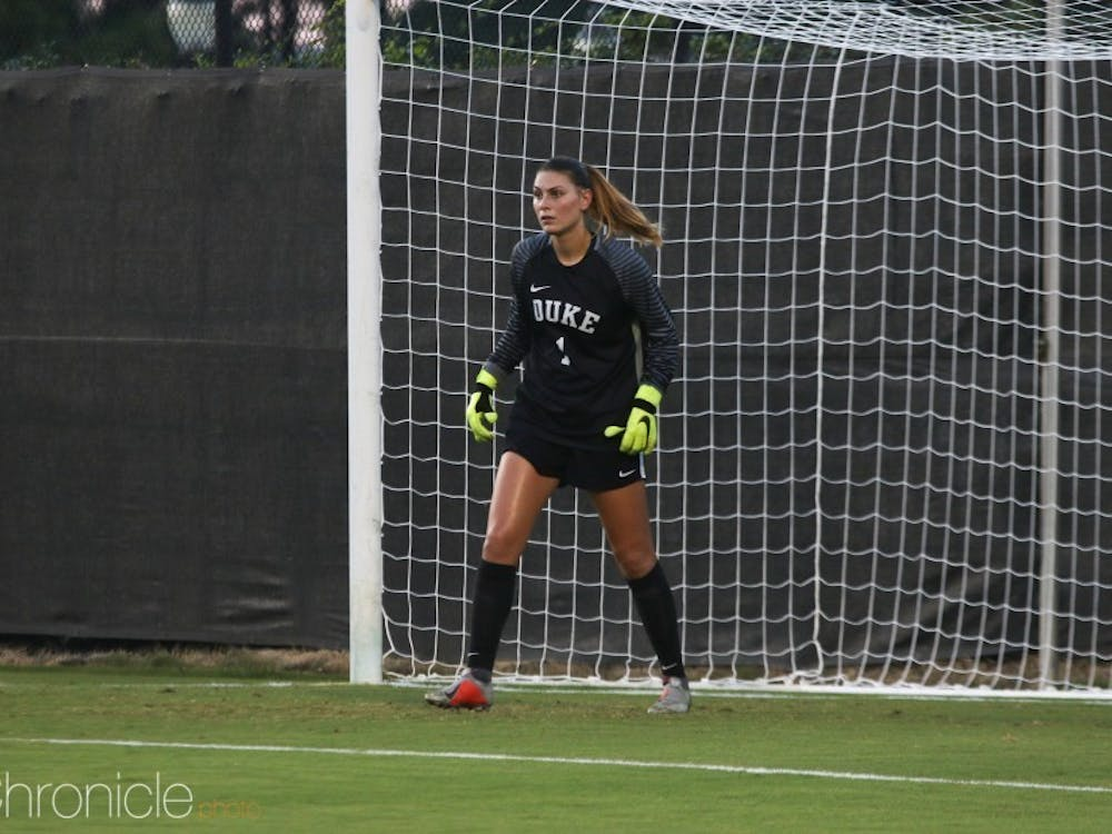 Goalie Brooke Heinsohn and Duke's defense will have their hands full trying to stop Virginia's explosive forwards.