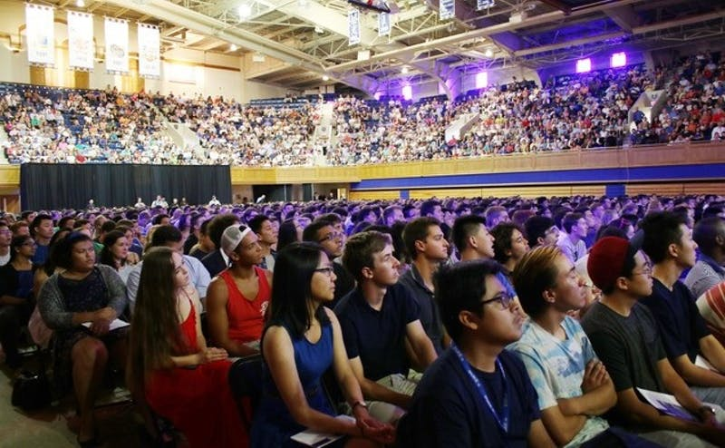 The Class of 2019 attended convocation in Cameron while the Chapel was under renovation.