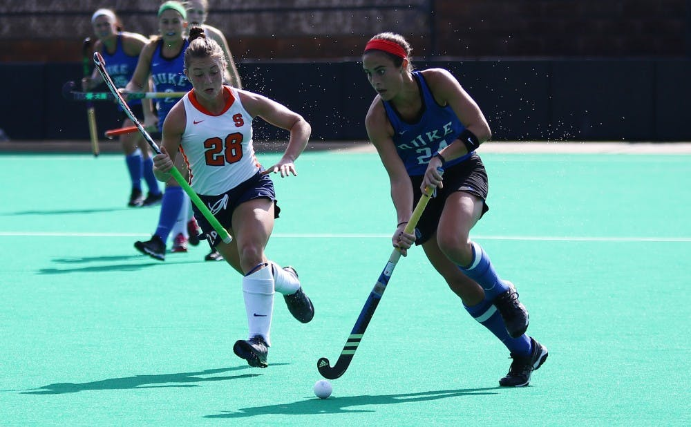 <p>Senior Aileen Johnson will face off against her sister, Shannon, Friday in the Final Four as the Blue Devils aim to advance to the national title game for the second time in three years.</p>