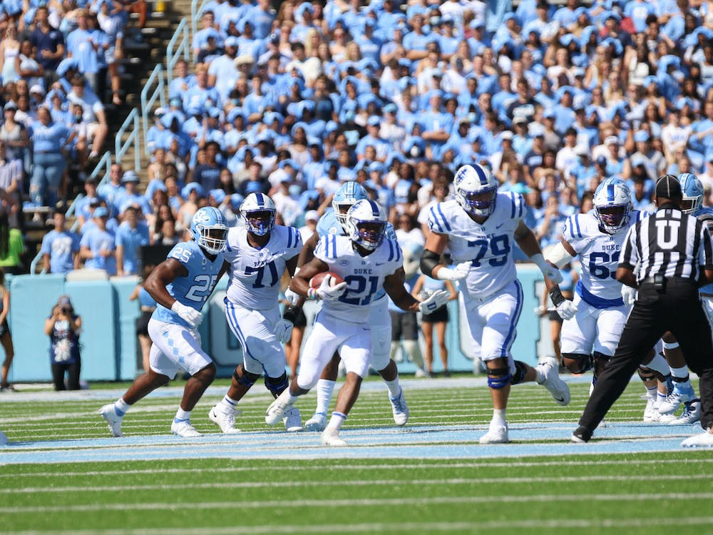 Despite 114 yards from Mataeo Durant, the Blue Devils were clearly outmatched in Saturday's edition of the Battle for the Victory Bell.