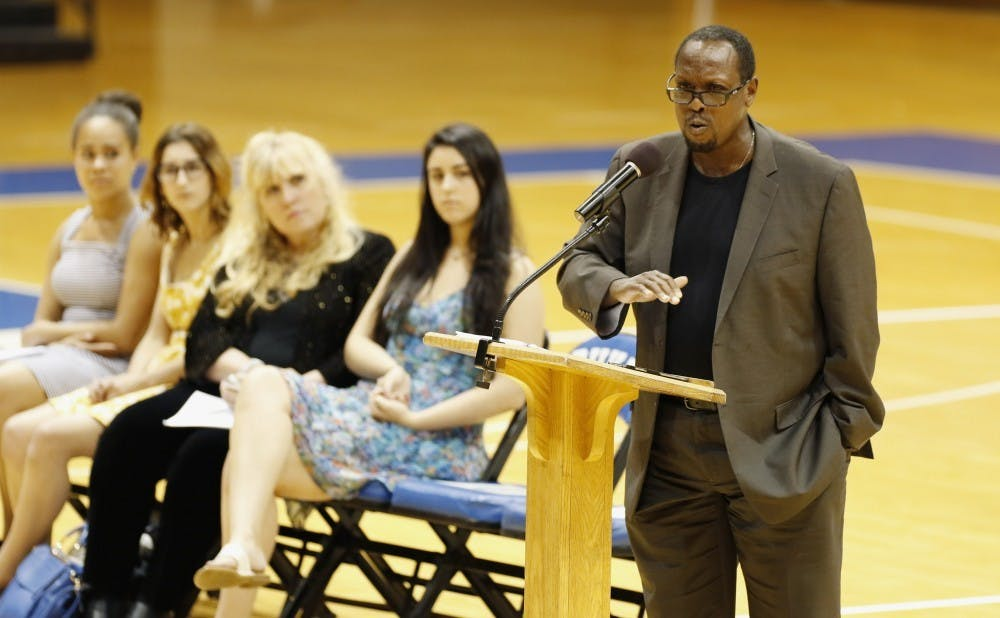 <p>Mark Anthony Neal, James B. Duke distinguished professor of African and African American studies, speaks at a 2015 event</p>