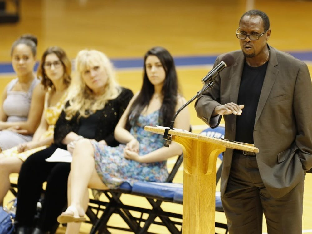 Mark Anthony Neal, James B. Duke distinguished professor of African and African American studies and a participant in Tuesday's media videoconference, speaks at a 2015 event