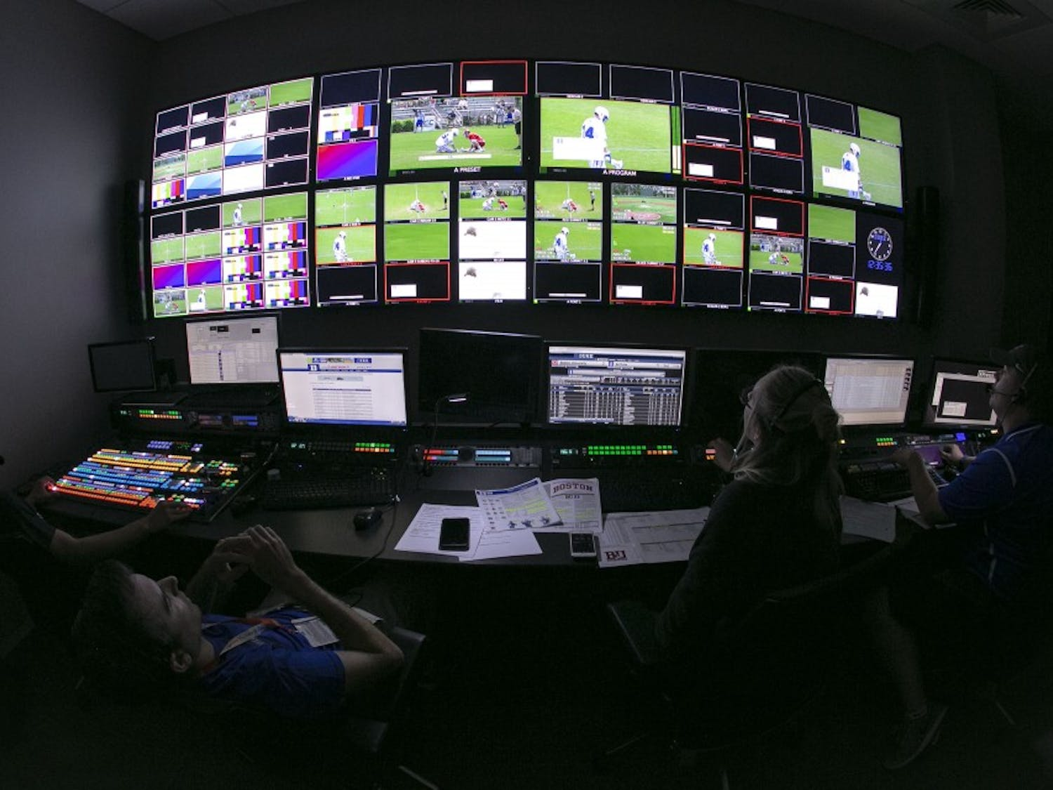 A look from inside one of the three new control rooms in Blue Devil Tower during a men's lacrosse broadcast.