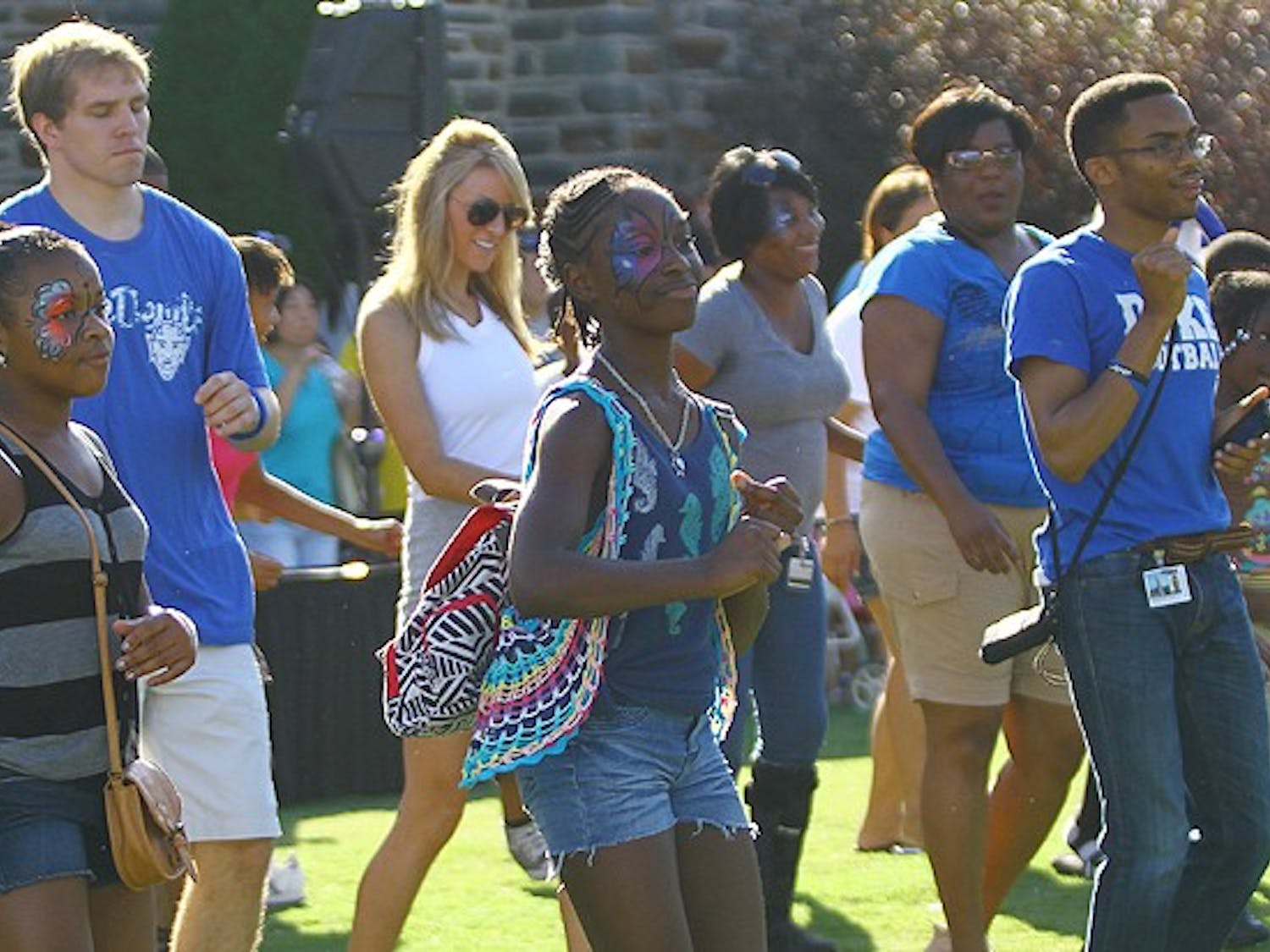Students boogie on the Quad during the pre-football game cookout Saturday.